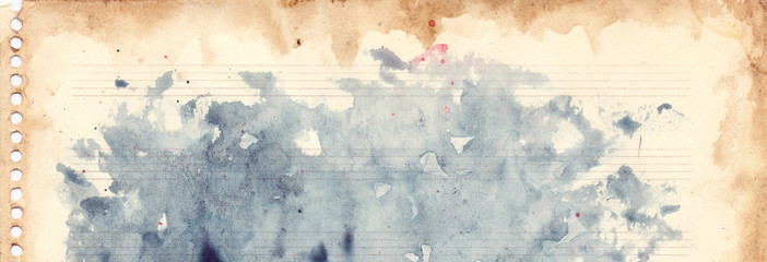 Vintage retro watercolor music sheet background texture grunge
