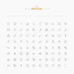 Repair icons. Line set for web and mobile