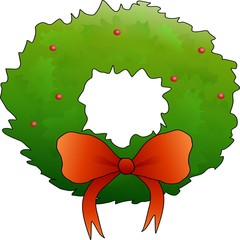 Green wreath with a red bow and berries.