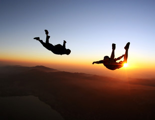 Skydivers at the sunset