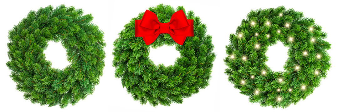 Christmas decoration evergreen wreath wit red ribbon bow lights