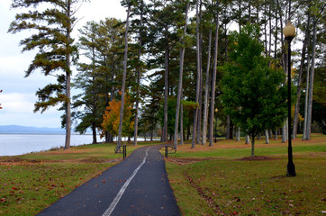 Paved walking trail in a park at Lake Guntersville, AL, USA