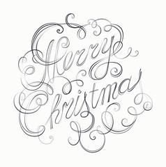 Merry Christmas inscription retro calligraphy