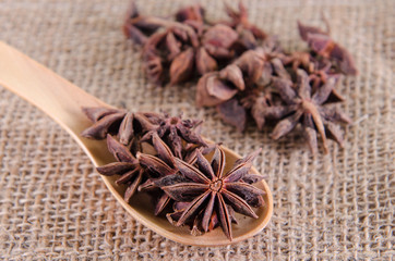 star of anise in wooden spoon , chinese food ingredient
