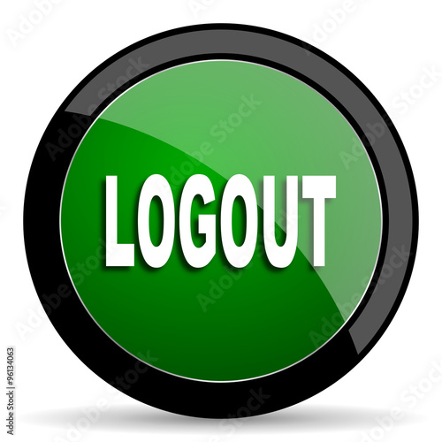 """logout green web glossy icon with shadow on white ..."