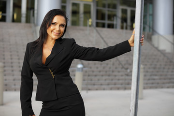 Businesswoman in a black suit