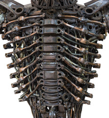 Closeup Body of metallic robot made from auto parts