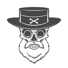 Head hunter skull with beard, hat and glasses vector. Rover logo template. Bearded old man t-shirt design