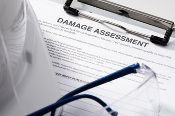 Damage Assessment form on Clipboard