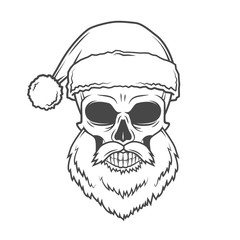 Bad Santa Claus biker poster. Heavy metal Christmas portrait. Rock and roll new year t-shirt illustration