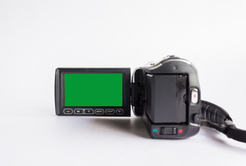 Blank green screen frame of mini video camcorder