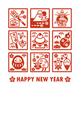 New years card-Japanese new years elements