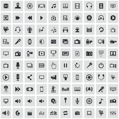 multimedia, video 100 icons universal set