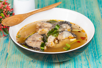 Thai food name is Fish Tomyam ,Sneck head fish on