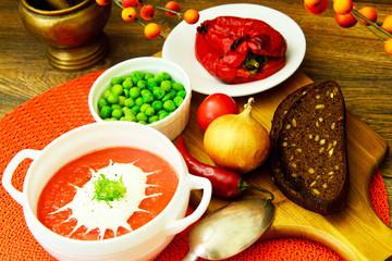 Fresh Homemade Classic Cold Gazpacho Soup.