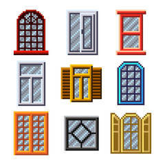 Pixel windows for games icons vector set