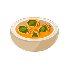 Snail Soup in a Bowl. Vector Illustration