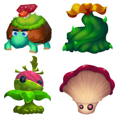 Illustration: The Fantastic Creatures in the Fantastic Forest - The Tortoise; The Monster Tree; The Fruit Monster; The Mushroom Monster. Realistic Fantastic Cartoon Style Character Design.