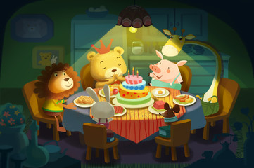 Illustration: Happy Birthday! It is little Bear's Birthday, All his Little Animals Friends Come and Wish him a Happy Birthday! Realistic Fantastic Cartoon Style Scene / Wallpaper / Background Design