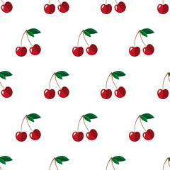 Seamless vector pattern with cherry.