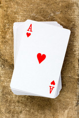 Card deck with ace of hearts