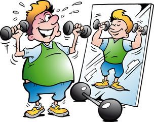 Vector Cartoon illustration of a Fat Motion Man making Fitness