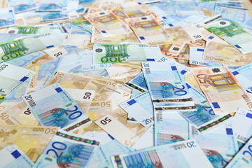 Euro banknotes. Background with european cash money.
