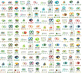 Mega set of infinity and loop business logos, large collection