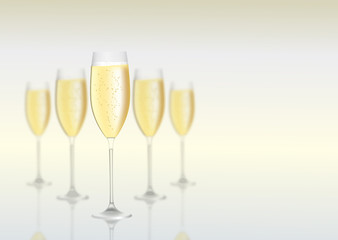 Background with champagne and a place for text.Vector illustration.