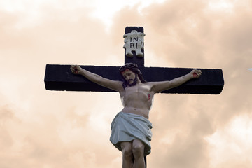 large crucifix in an irish graveyard
