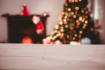 Desk with christmas tree in background