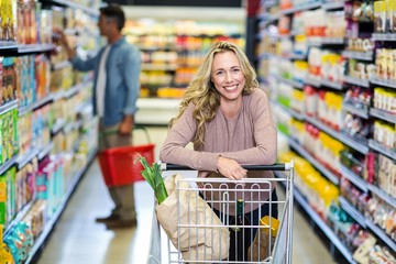 Young smiling mother doing shopping