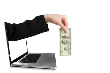 Fototapeta Businesswomans hand holding hundred dollar bill