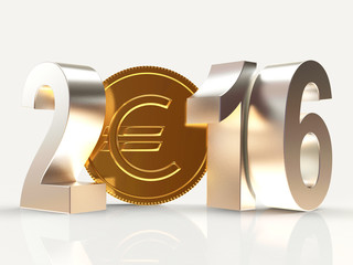 2016 New Year and golden coin with EURO sign isolated on white background