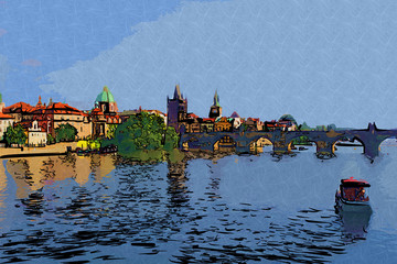 Prague art design illustration