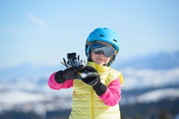 Skiing, winter fun,-smiling skier girl enjoying ski holiday