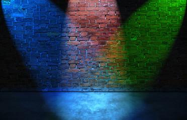 Colorful RGB spot lights on brick wall