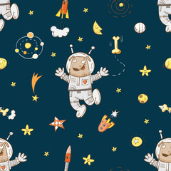 Space vector seamless pattern with cartoon dogs astronauts, rockets, stars and planets on  blue background.