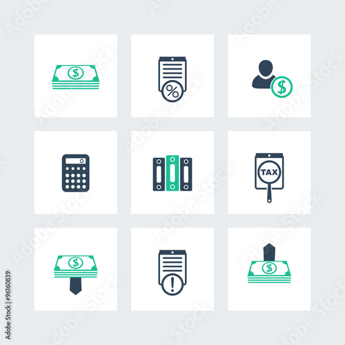 Bookkeeping, finance, payroll icons pack, vector