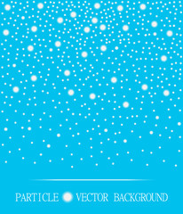 Abstract falling snow particles cyan background. Style background for presentation, cards, scientific and jewelry design. Vector illustration
