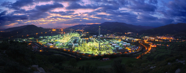 panorama of industrial factory at night