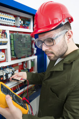 young adult electrician builder engineer worker
