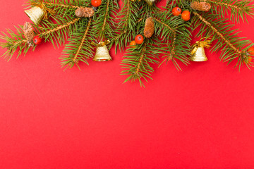 Christmas decorations on red background