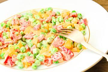 Juicy Vegetable Stew. Paprika, Peas, Carrots. Diet Food.