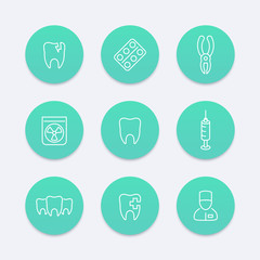 Tooth, dental care, dental pliers, toothcare, stomatology, line aquamarine icons, vector illustration