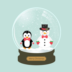 christmas snow globe with snowman and penguin
