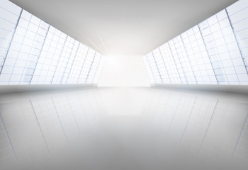 Hall, large space. Vector illustration.