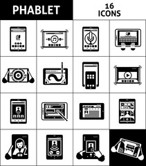 Phablet Black White Icons Set