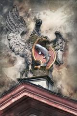 Adler mit Stadtwappen