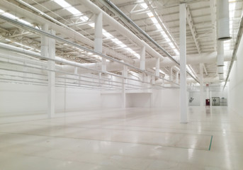 White empty industrial warehouse